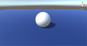 White sphere on blue ground.